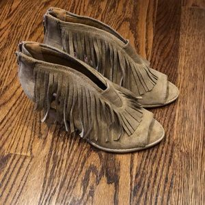 Fringe heeled sandal booties